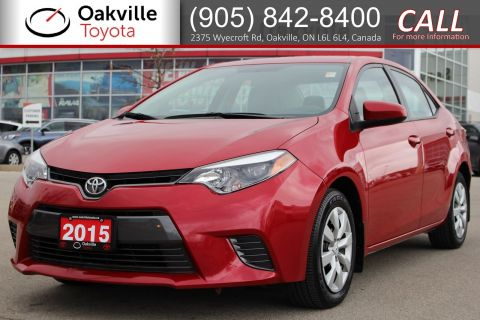 Certified Pre-Owned 2015 Toyota Corolla LE with Single Owner and Low Kilometres