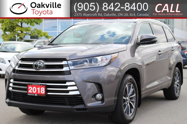 Pre-Owned 2018 Toyota Highlander XLE AWD with Low Kilometers, Clean Carfax, and One Owner
